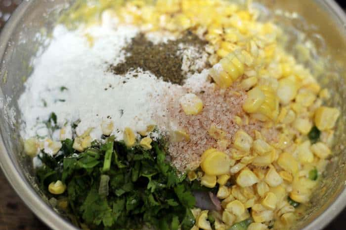 ingredients or vegan corn fritters