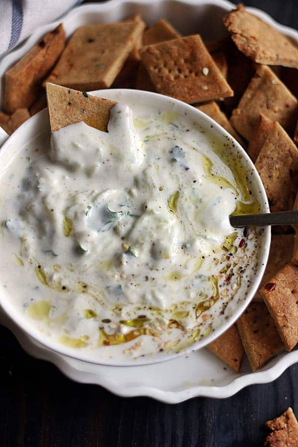 tzatziki served with crackers