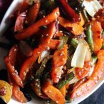 closeup shot of stir fried vegetables