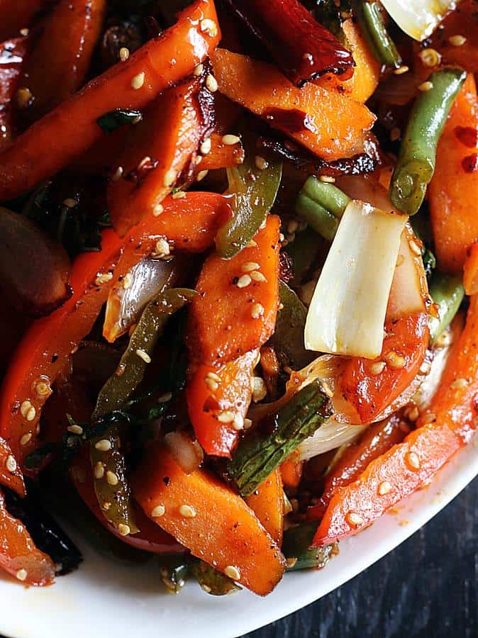 stir fry vegetables served with rice