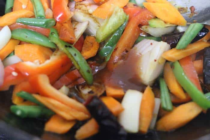 sauce added to sauteed vegetables