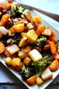 closeup shot of roasted winter vegetables