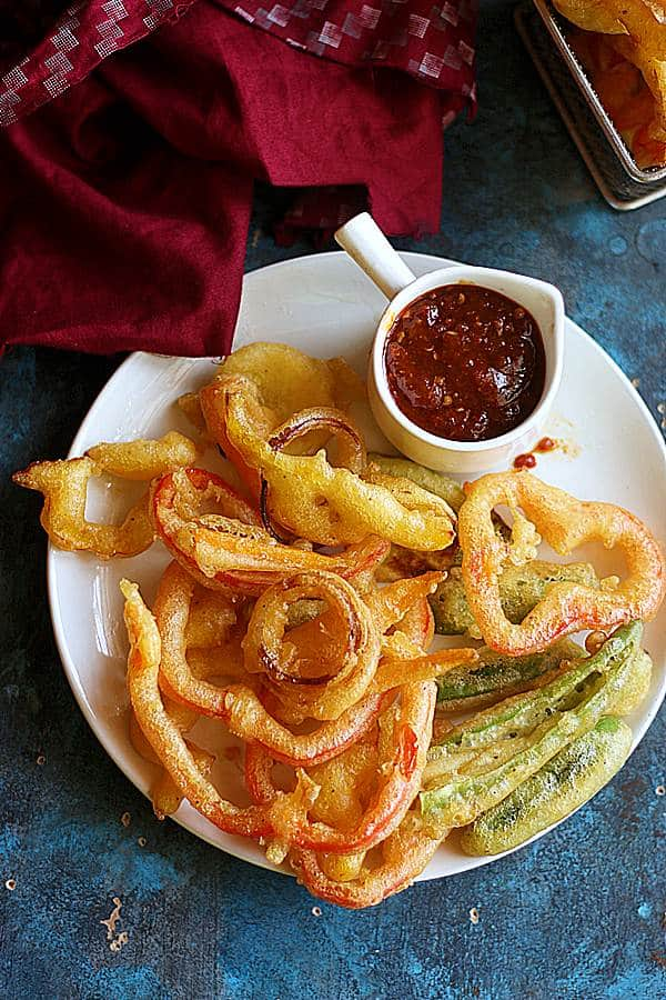 crispy tempura vegetables served with a spicy dipped sauce.