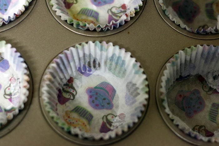 muffin tin lined with paper liners